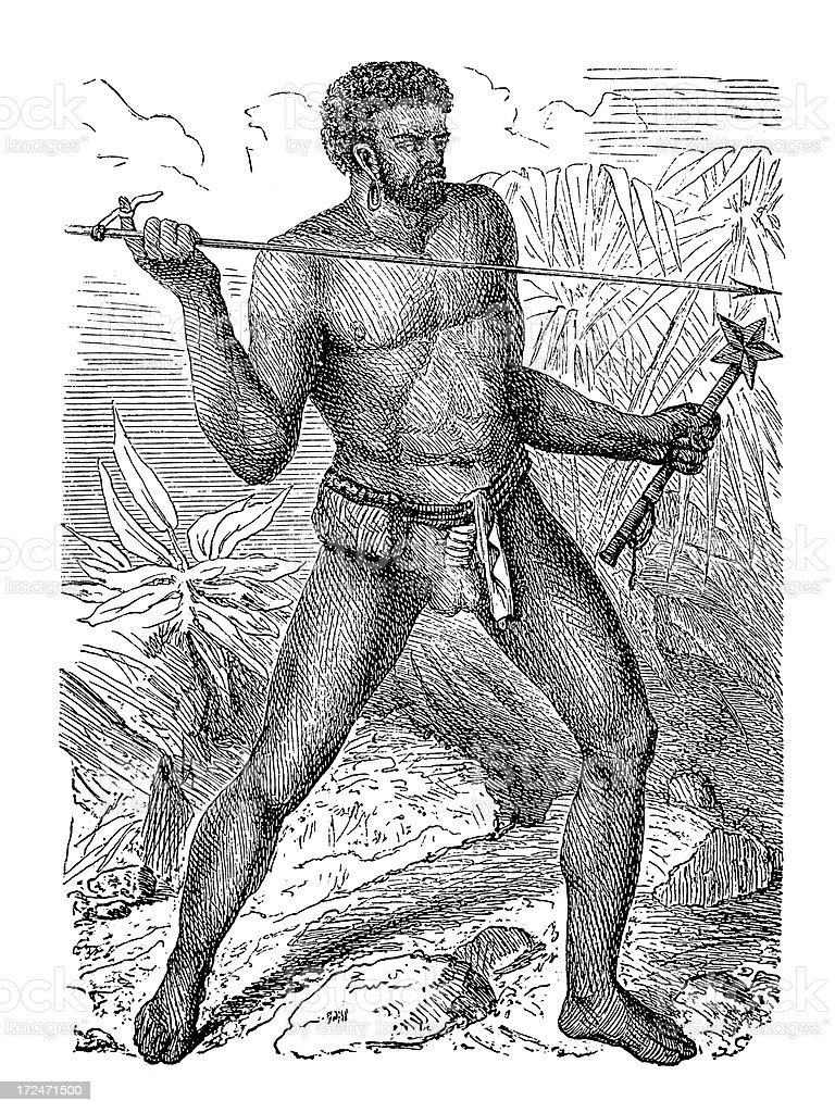Inhabitant of New Caledonia (antique wood engraving) royalty-free inhabitant of new caledonia stock vector art & more images of 19th century