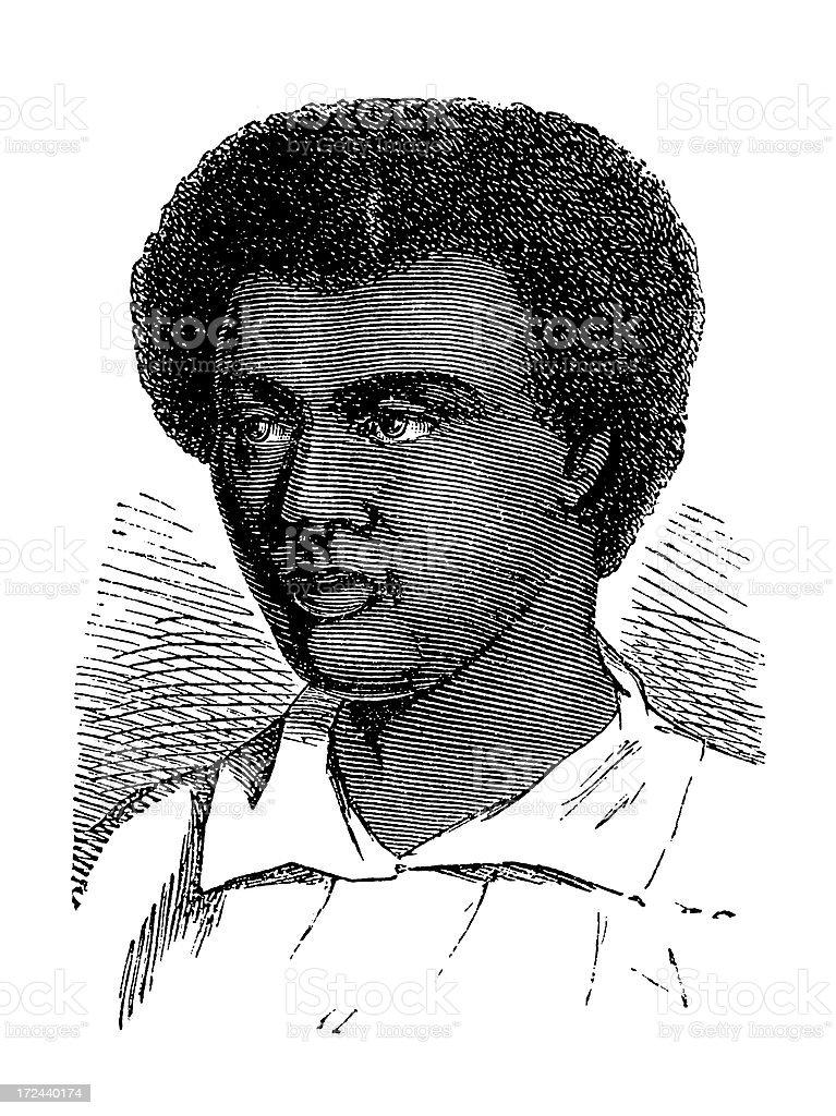 Inhabitant of Tonga (antique wood engraving) royalty-free stock vector art