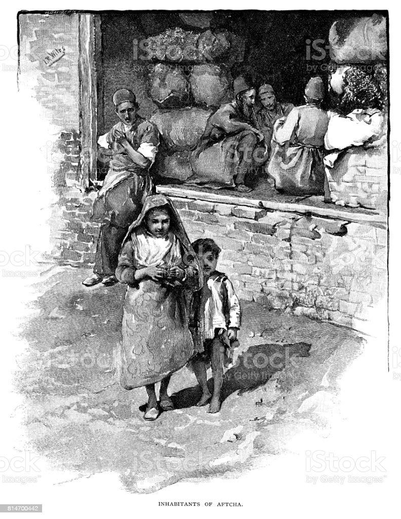 Habitantes da Aftcha - ilustração de arte em vetor