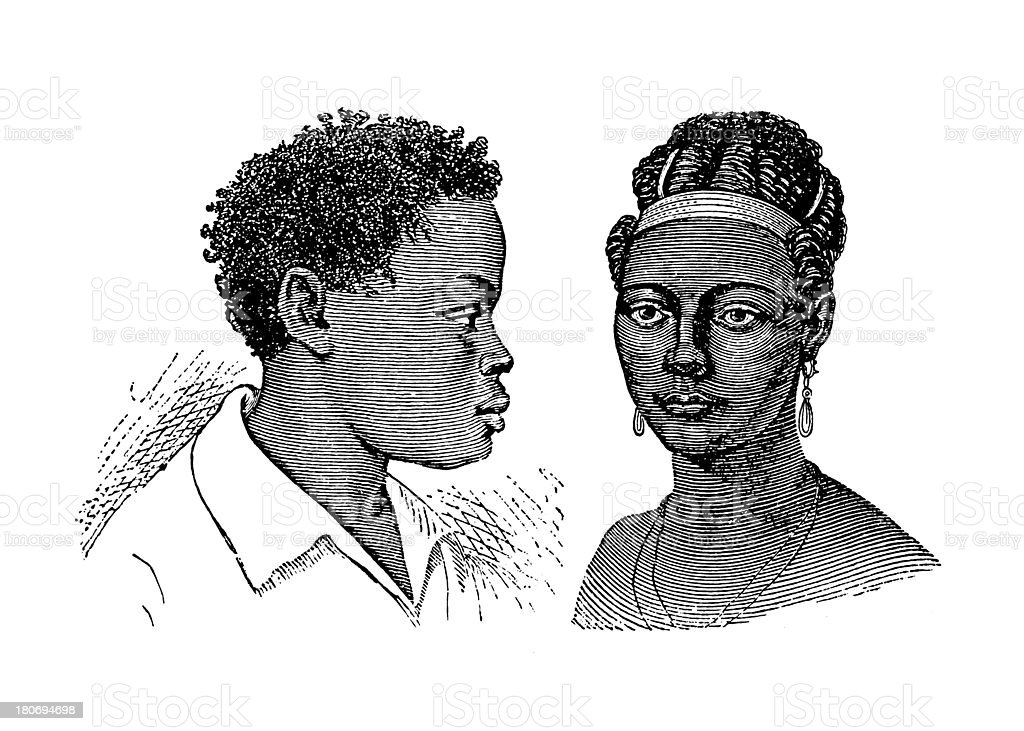 Inhabitants of Benguela, South Africa (antique wood engraving) royalty-free inhabitants of benguela south africa stock vector art & more images of 19th century