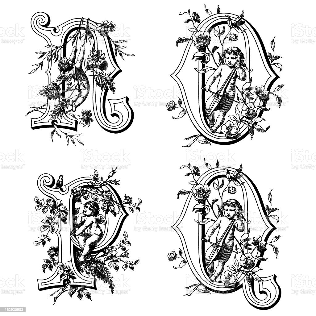 Initials with Angels royalty-free initials with angels stock vector art & more images of 19th century