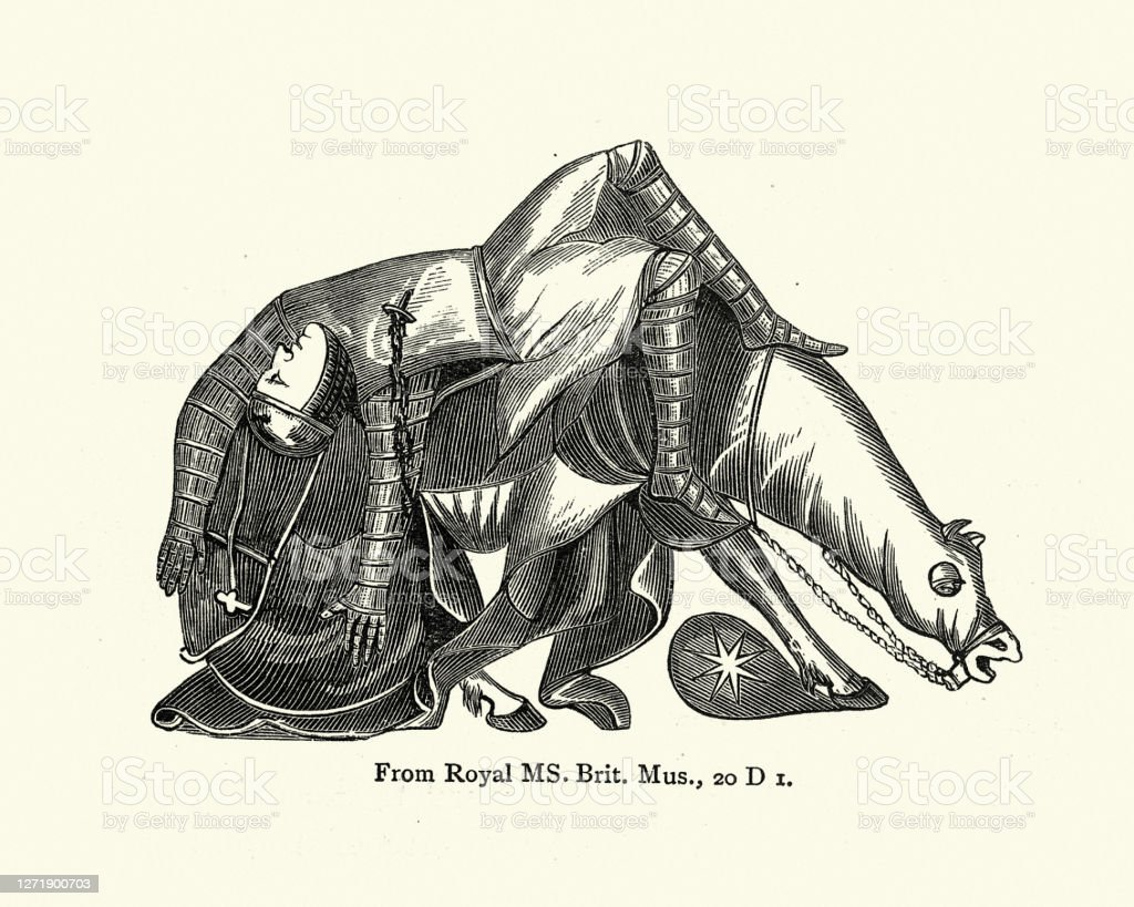 Injured Medieval Knight Falling Off His Horse Stock Illustration Download Image Now Istock