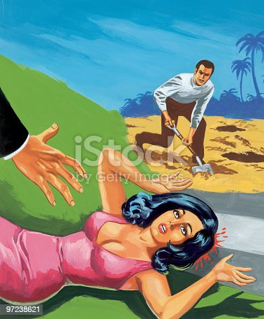 istock Injured Woman and Man Digging Grave 97238621