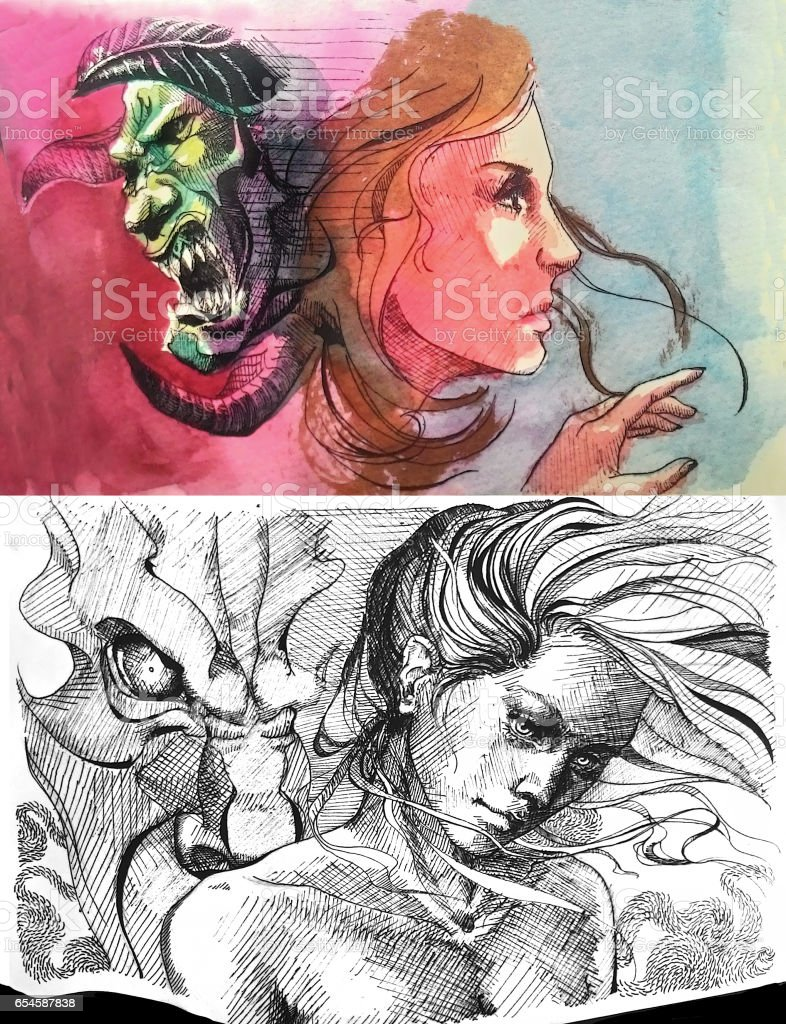 ink and watercolor drawing of imaginative beauty and a beast pretty vs ugly vector art illustration