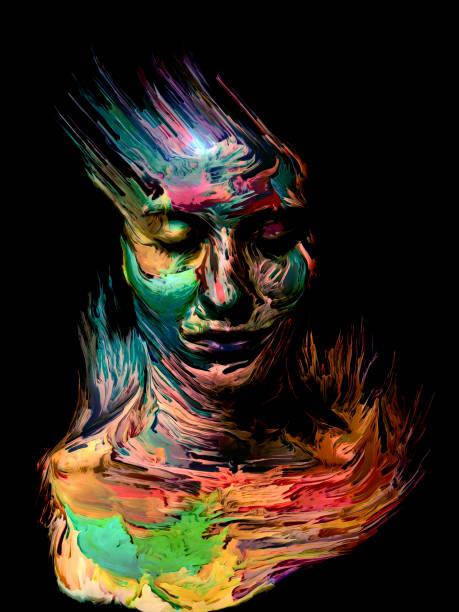 Ink Face vector art illustration