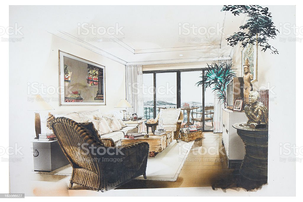 Ink Hand Draw And Watercolor Paint Of Living Room Royalty Free Stock Vector Art
