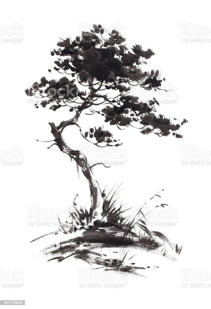 Büyüyen çam Ağacı Resmi Mürekkep Sumie Tarzı Stok Vektör Sanatı