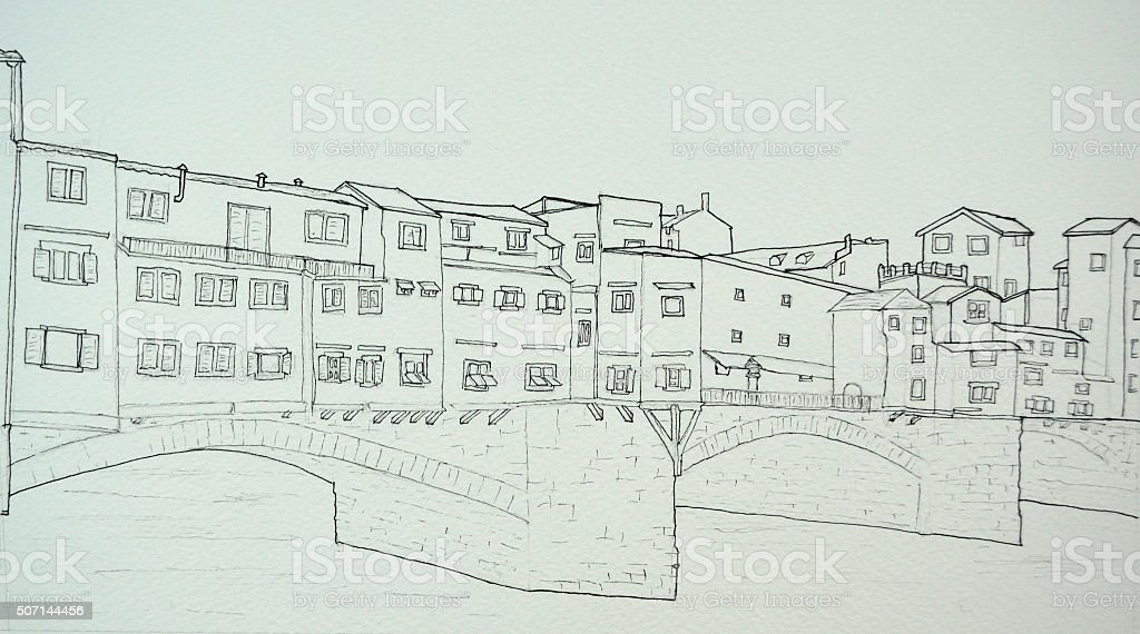 Ink line drawing of the Ponte Vecchio Florence Italy vector art illustration