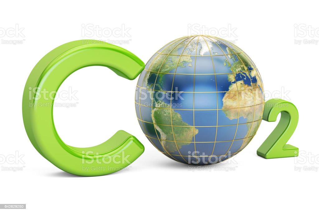 CO2 inscription with globe, pollution concept. 3D rendering vector art illustration