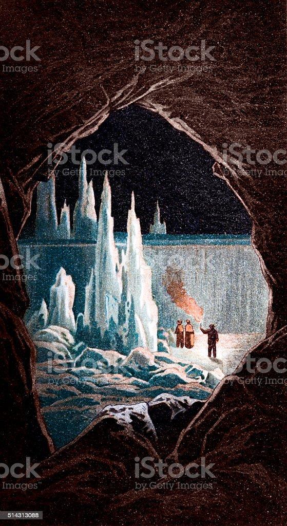 Inside a cave vector art illustration