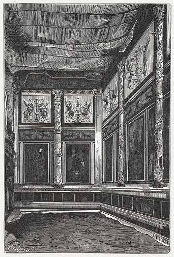 Inside of Casa di Livia, Palatine Hill, Rome, published 1878