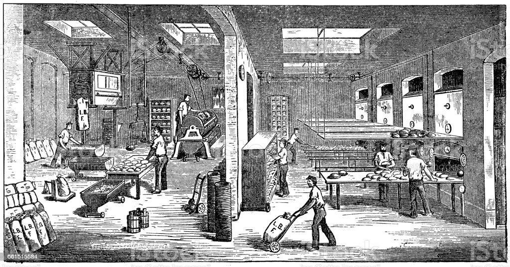 Inside of large bakery vector art illustration