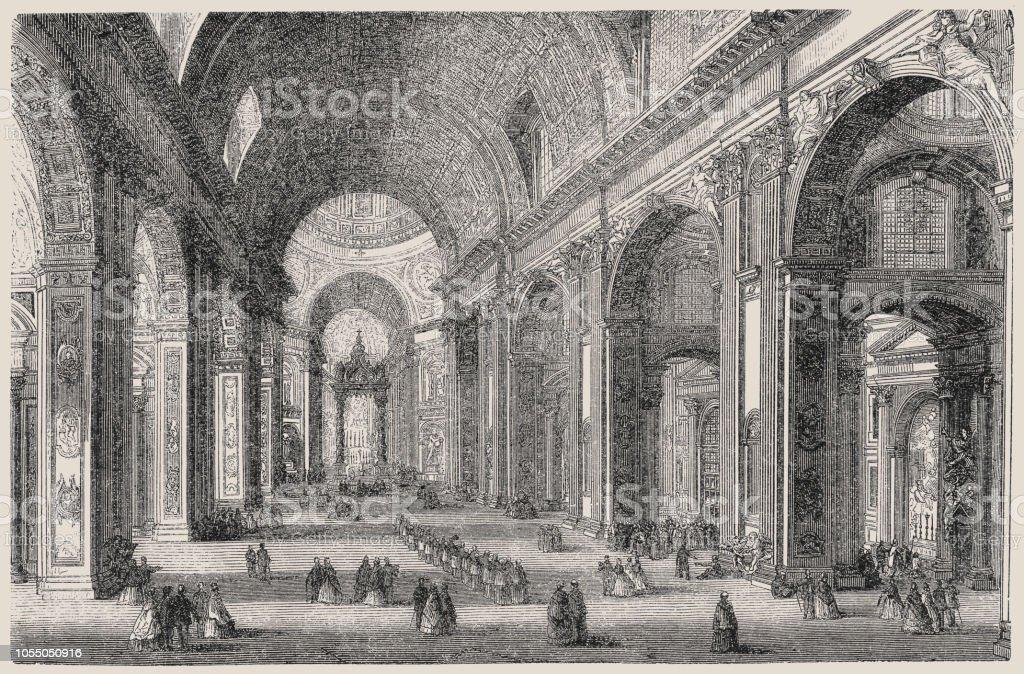 Dentro da Basílica de São Pedro em Roma - ilustração de arte em vetor