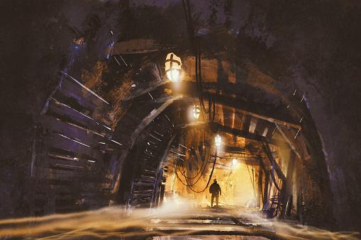 inside of the mine shaft with fog,illustration,digital painting