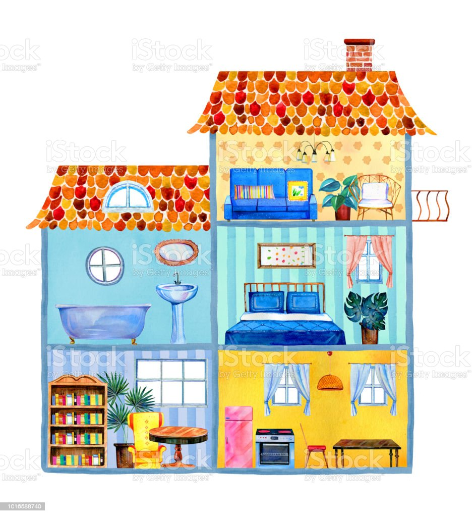 Inside view of big cartoon house with different rooms furniture and decorations hand drawn