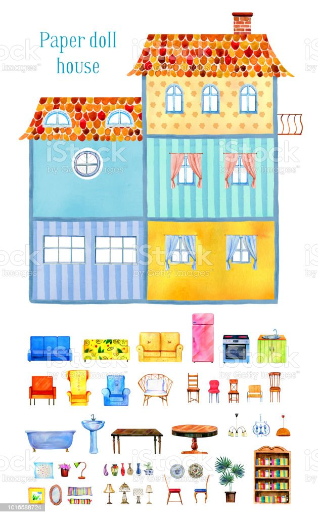 decorating furniture with paper. Inside View Of Big Empty Cartoon Paper Doll House With Set Furniture And  Decorations. Decorating R