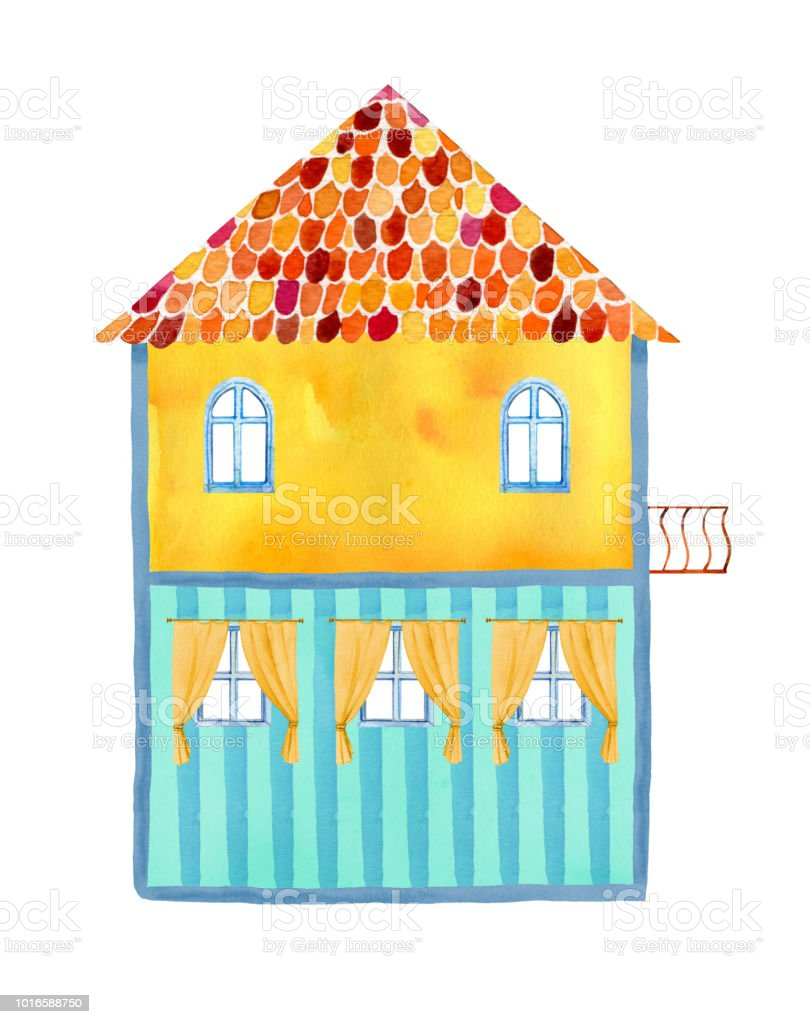Inside view of empty two story cartoon house hand drawn watercolor illustration royalty
