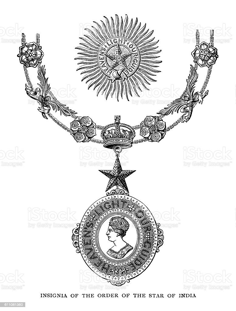 Insignia of the Order of the Star of India vector art illustration