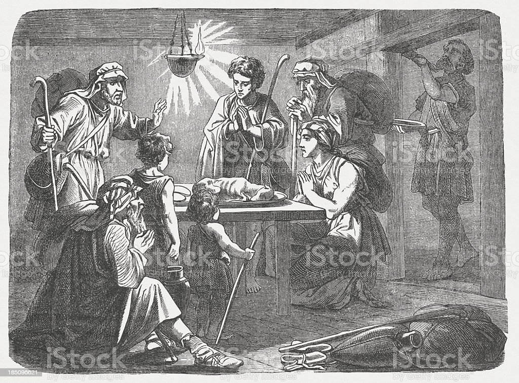 Institution of the Passover (Exodus 12), wood engraving, published 1877 royalty-free stock vector art