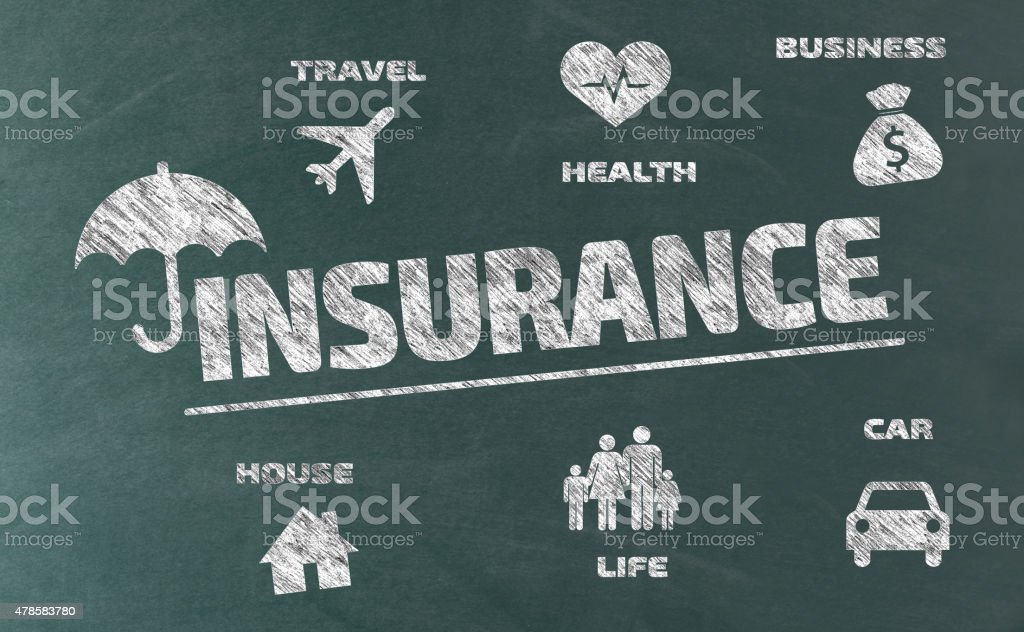 Insurance Concept with Icons on Blackboard vector art illustration