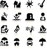 Insurance icons set Elegant series