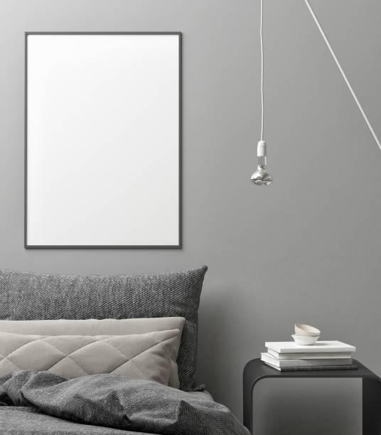 Interior concept bedroom, white poster background Interior concept bedroom, white poster background, 3d illustration bedroom borders stock illustrations