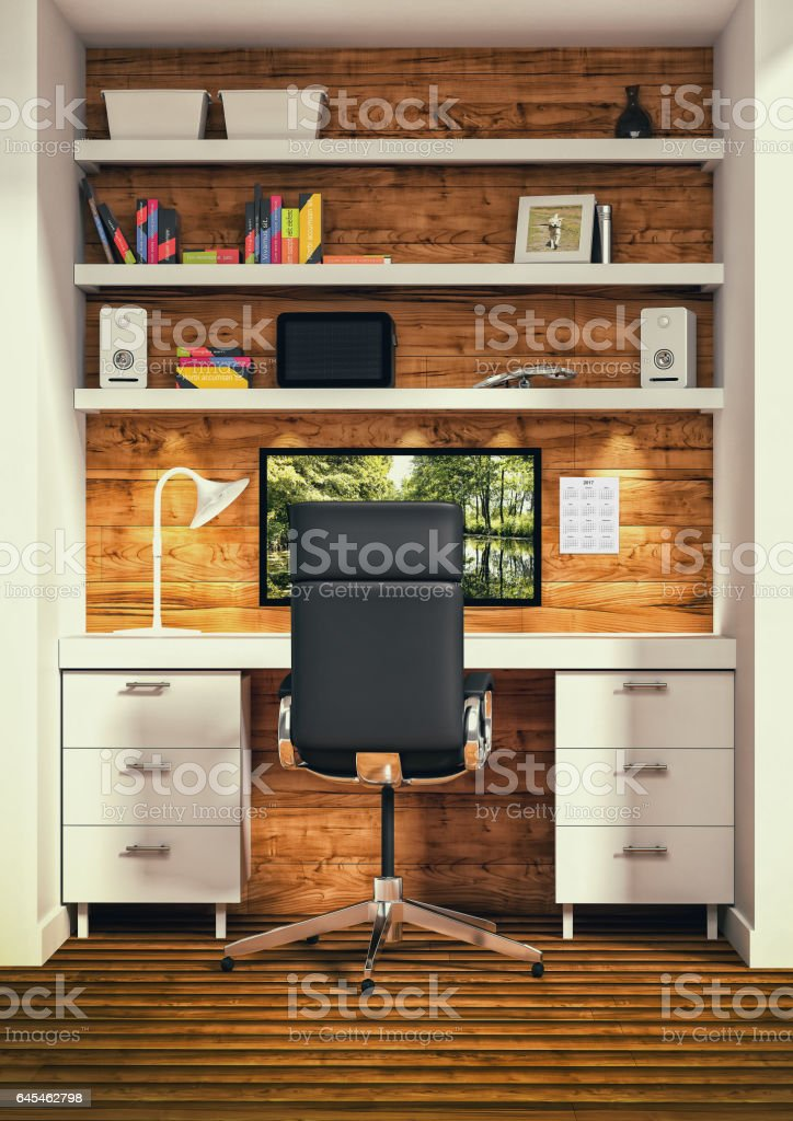 interior design of office vector art illustration