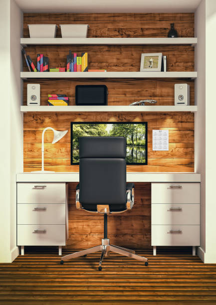 ilustraciones, imágenes clip art, dibujos animados e iconos de stock de diseño de interiores de oficina - trabajo desde casa