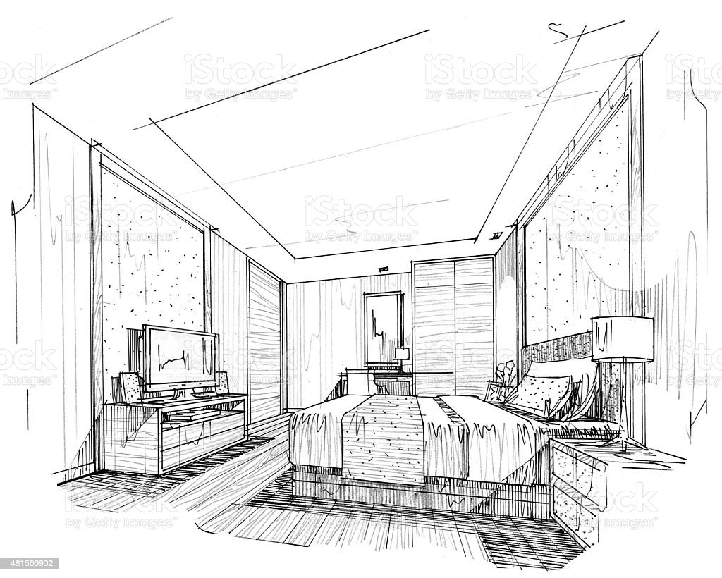 Interior Design Line Art Vector : Interior lines perspective rendering