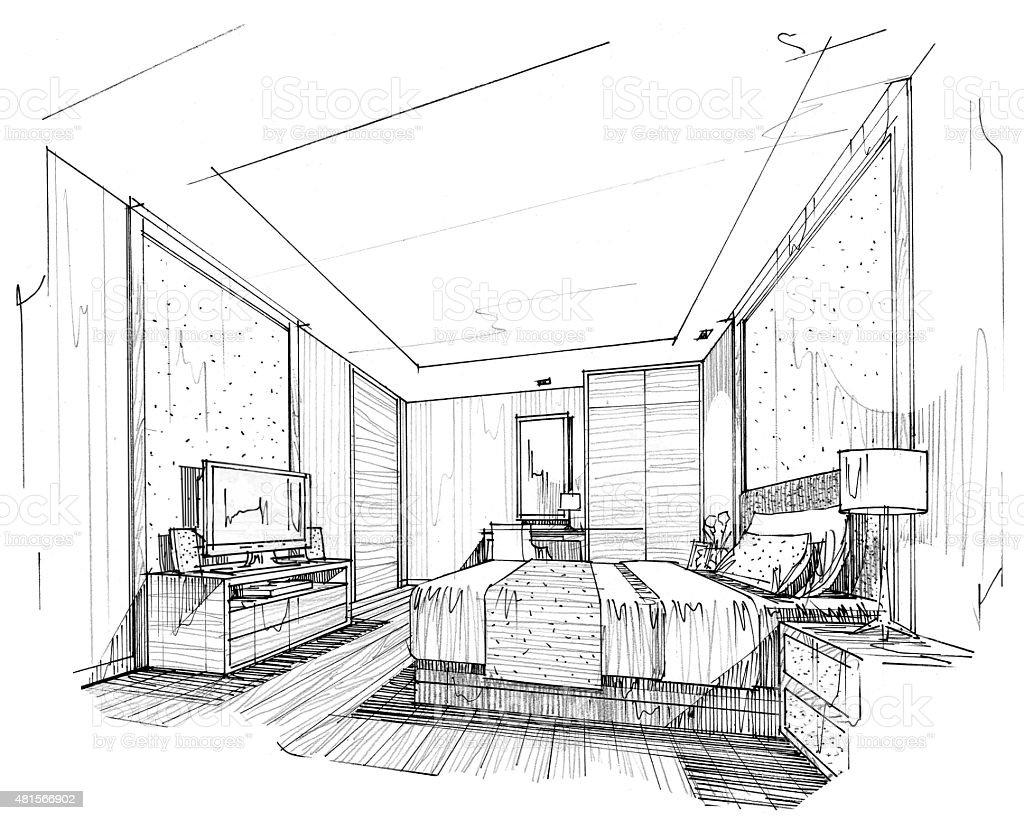 Interior lines , perspective interior , perspective rendering vector art illustration