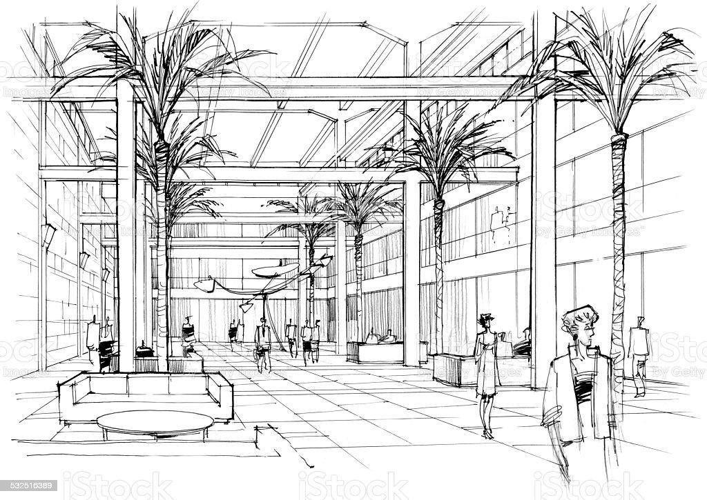 interior lobby vector art illustration