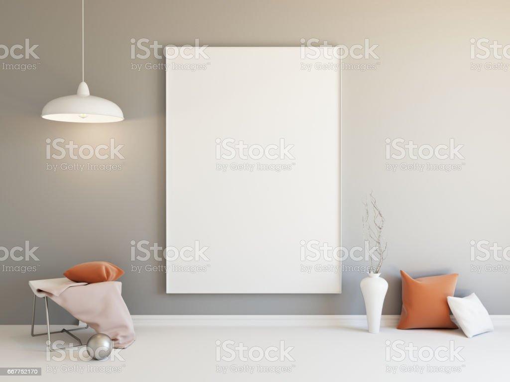 Interior mockup 3d vector art illustration