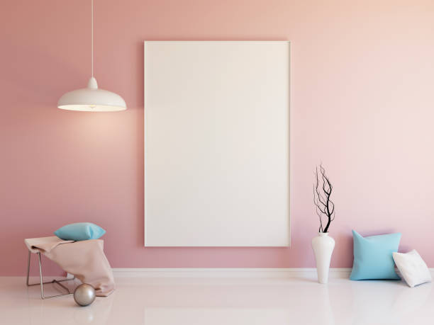 Interior mockup 3d Interior mockup illustration of pink room with with blank vertical board and decoration interior designer stock illustrations
