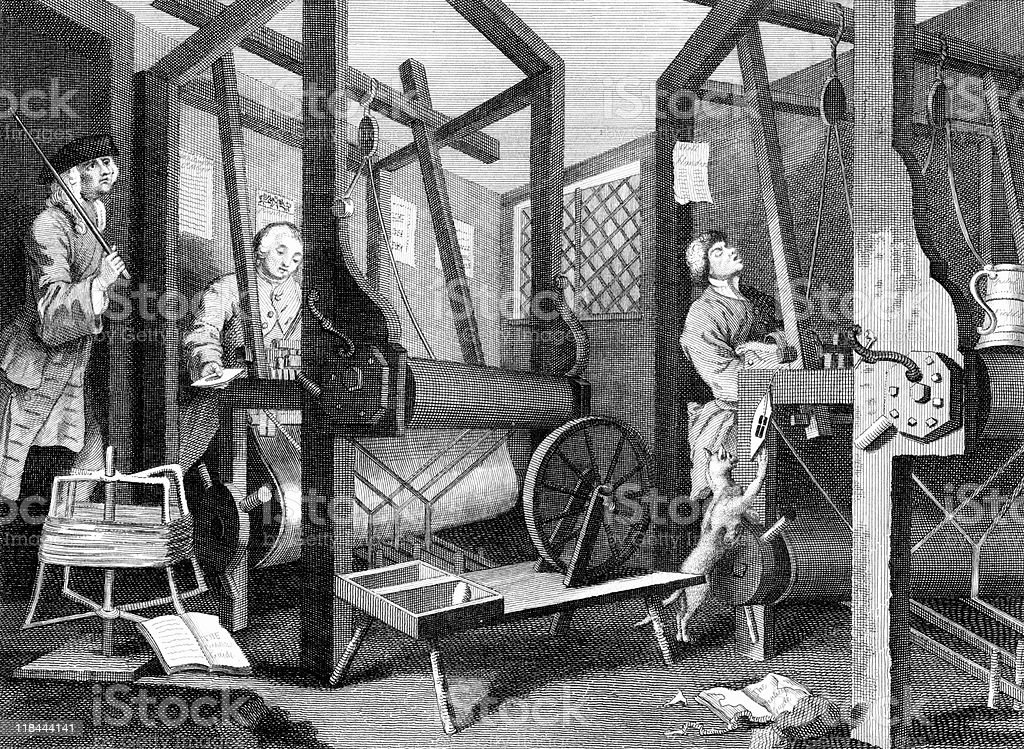 Interior of 18th Century English Textile Mill vector art illustration