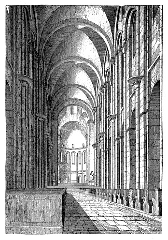 Interior of Cathedral in Speyer, Germany. Officially called the Imperial Cathedral Basilica of the Assumption and St Stephen, or short in german Dom zu Speyer