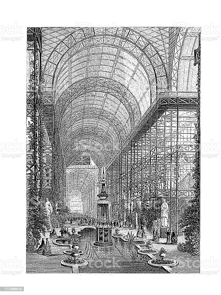Interior of Crystal Palace, London, UK | Antique Architectural Illustrations vector art illustration