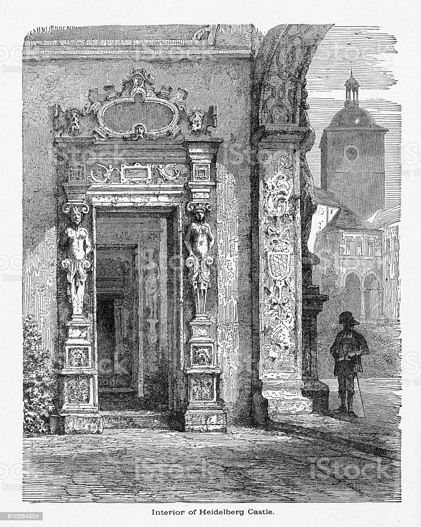 Interior of Heidelberg Castle in Heidelberg, Germany Circa 1887 vector art illustration