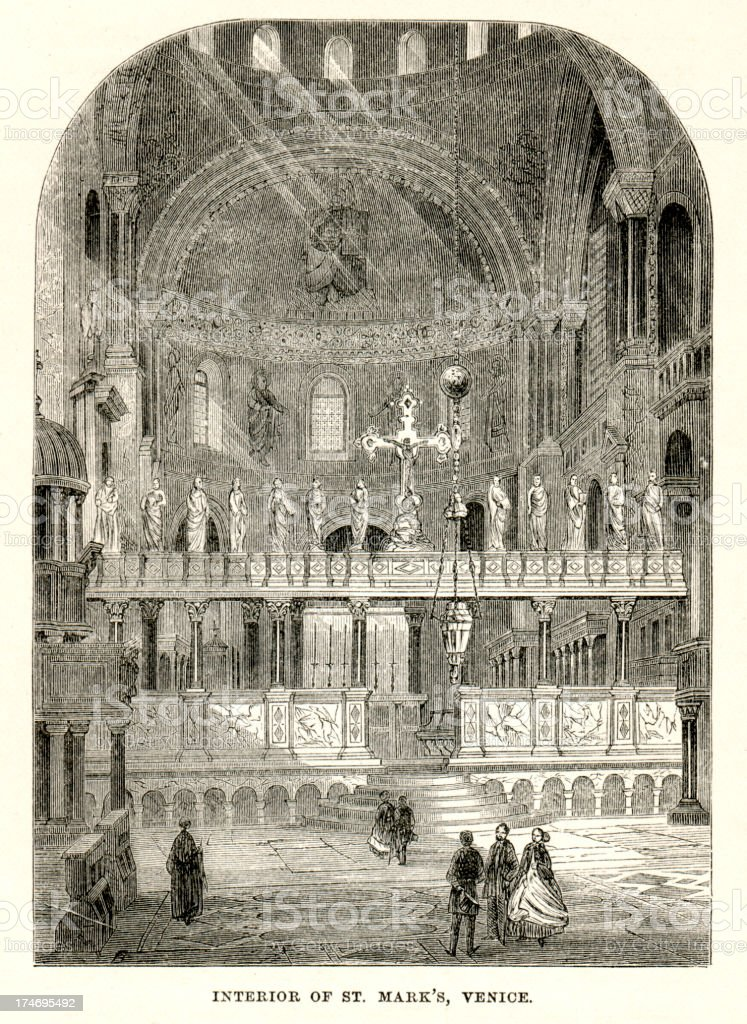 Interior of Saint Mark's Venice royalty-free stock vector art