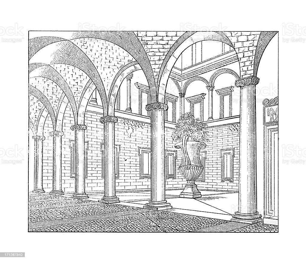 Interior of Santi Apostoli, Rome, Italy    Antique Architectural Illustrations vector art illustration
