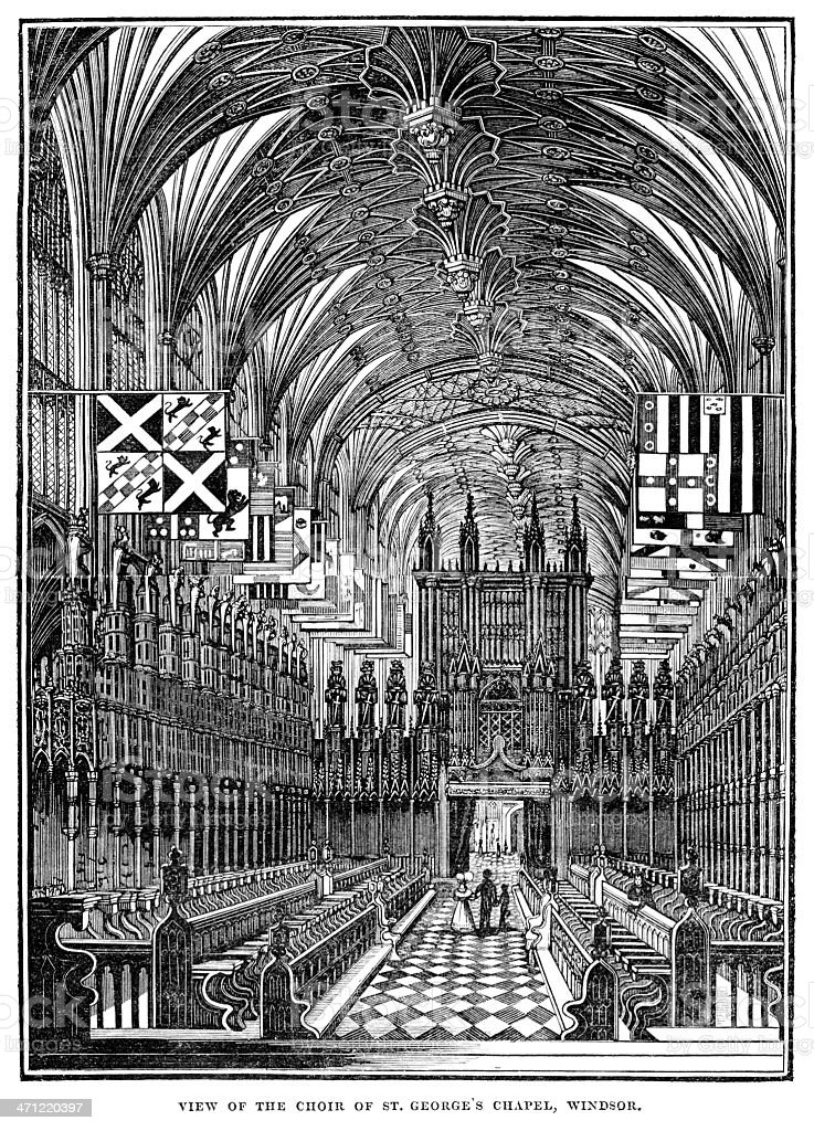Interior of St George's Chapel, Windsor - 1833 woodcut royalty-free stock vector art