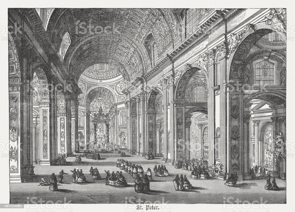 Interior of St. Peter's Basilica, published in 1878 vector art illustration