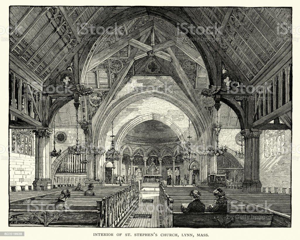 Interior of St Stephen's Church, Lynn, Massachusetts, 19th Century vector art illustration