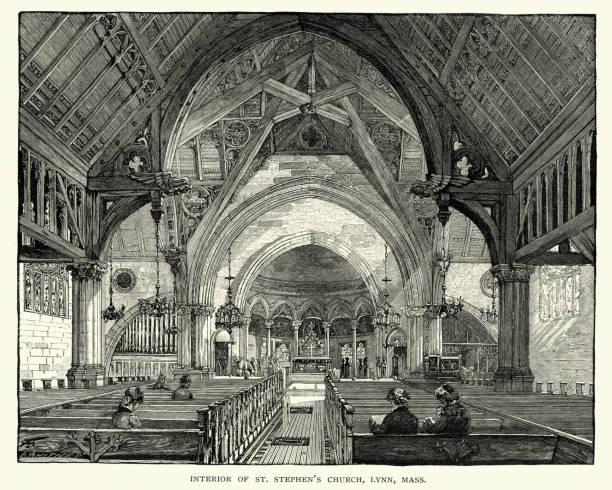 interior of st stephen's church, lynn, massachusetts, 19th century - stephen lynn stock illustrations