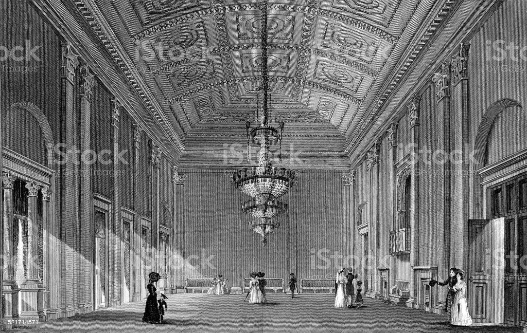 interior of the ball-room, town-hall vector art illustration