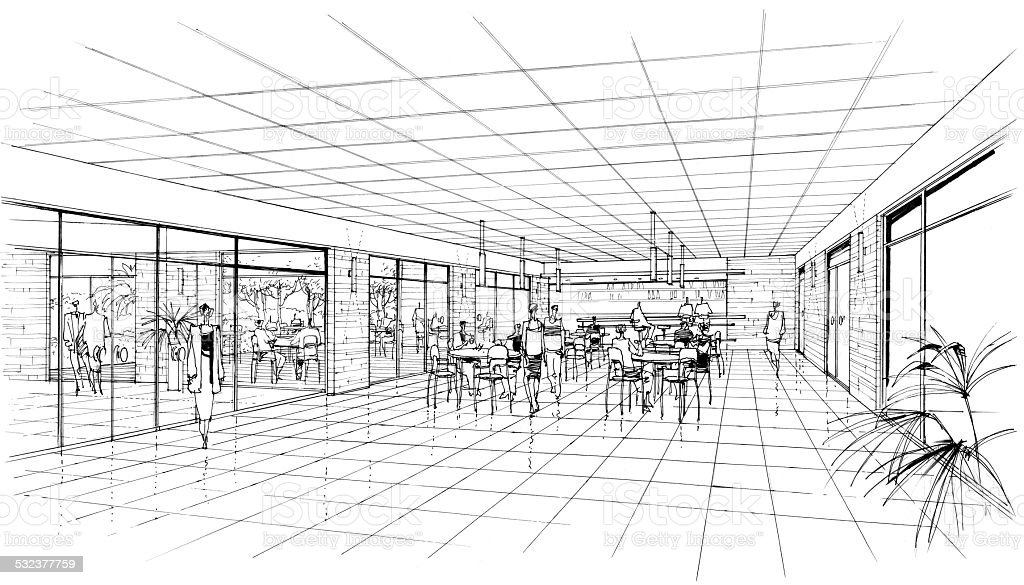 interior of the cafe vector art illustration