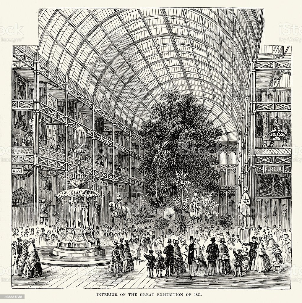 Interior of the Great Exhibition of 1851 vector art illustration