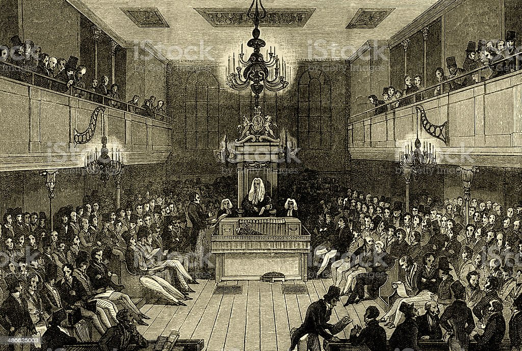 Interior of the House of Commons before 1834 vector art illustration