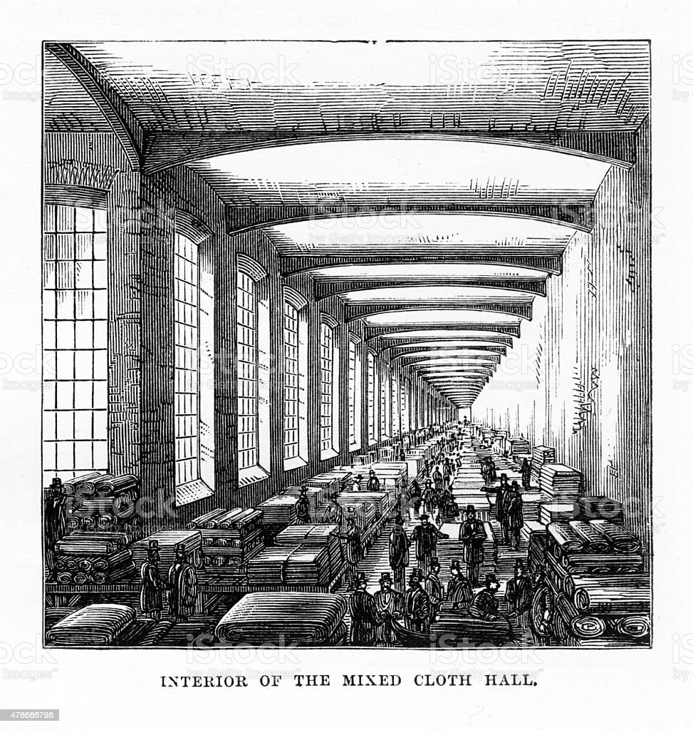 Interior of The Mixed Cloth Hall, Leeds, England Victorian Engraving vector art illustration