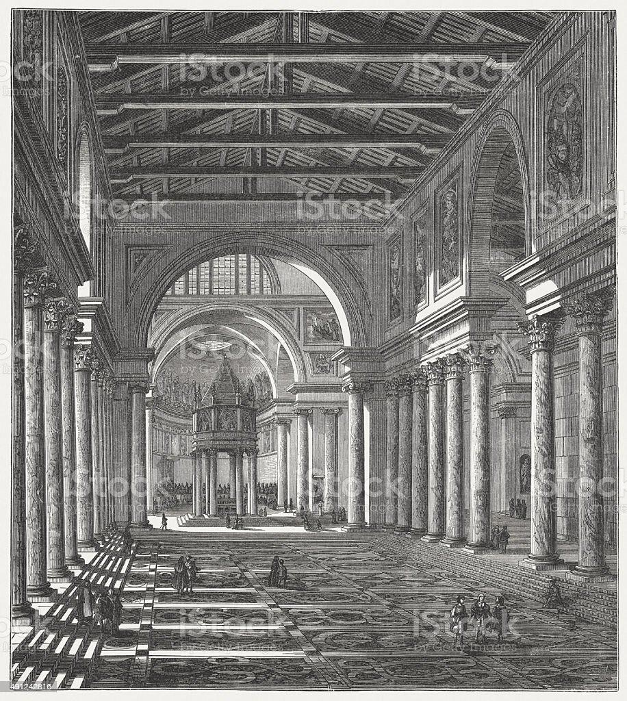 Interior do Old Basílica de São Pedro, publicado em 1878 - ilustração de arte em vetor