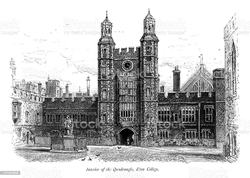 Interior of the Quadrangle at Eton College royalty-free interior of the quadrangle at eton college stock vector art & more images of 1870-1879